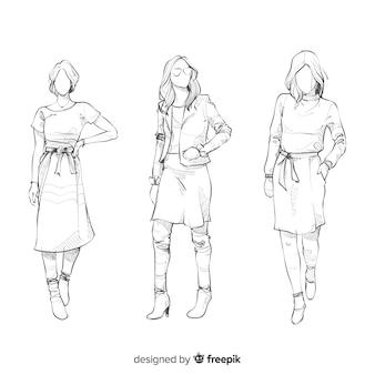 Colección de bocetos de modelos de moda