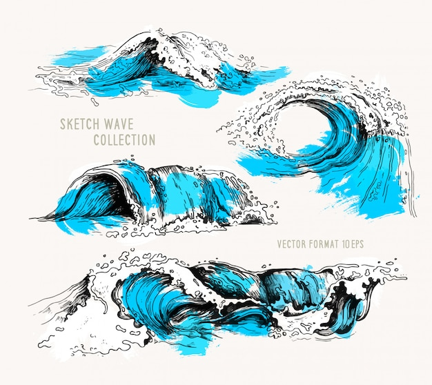 Colección de bocetos de olas oceánicas