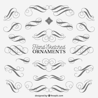Colección de bocetos de ornamentos con espirales