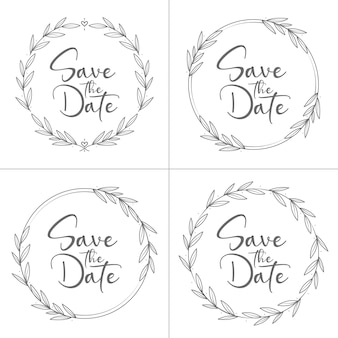 Colección de boda floral mínima estilo círculo
