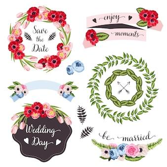 Colección de boda con flores y plantas dibujadas a mano.