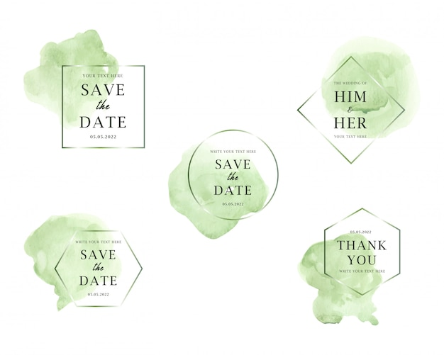Colección de boda de manchas de acuarela verde claro