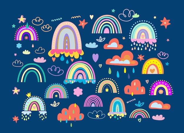 Colección boho de arco iris, nubes y estrellas.