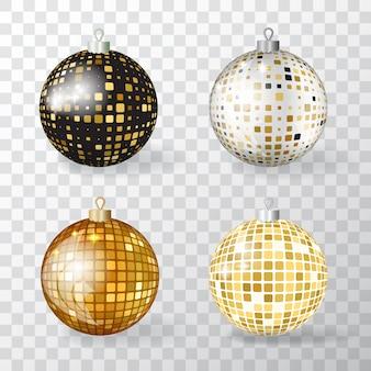 Colección de bolas de navidad 3d realistas con adorno de mosaico dorado. conjunto de adornos navideños discoball o elementos de bola de decoración de año nuevo