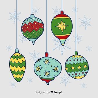 Colección de bolas de navidad de acuarela