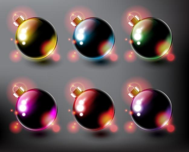 Colección de bolas de navidad adornos navideños aislados sobre fondo oscuro