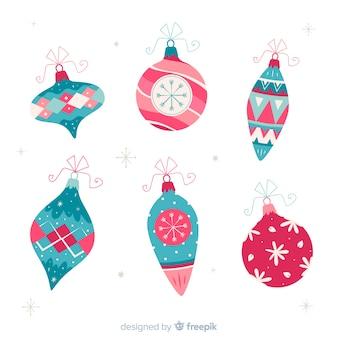 Colección de bolas de navidad dibujadas a mano