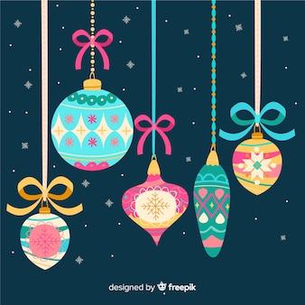 Colección de bolas de navidad de diseño plano