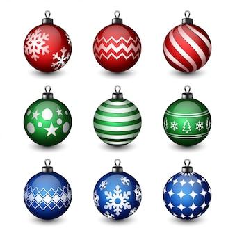 Colección de bolas de navidad realistas