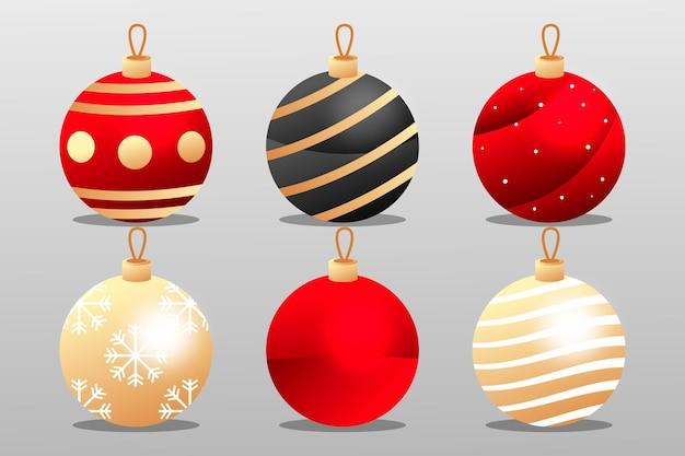 Colección bolas navideñas en diseño plano