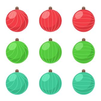 Colección de bolas navideñas en tres colores.