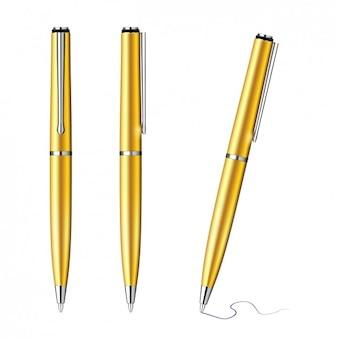 Colección de bolígrafos dorados