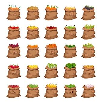 Colección de bolsas detalladas llenas de verduras y frutas.