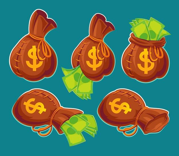 Colección de bolsas de dibujos animados de vectores con billetes de banco