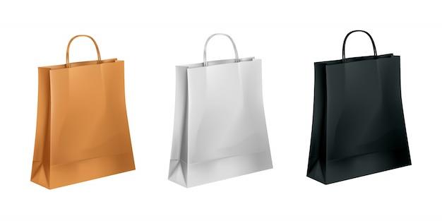 Colección de bolsas de papel en tres colores.