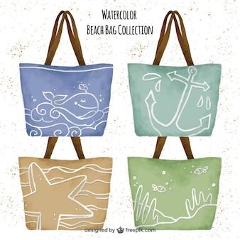 Colección de bolsas de la playa en acuarela