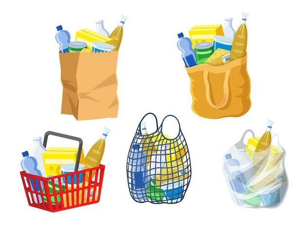 Colección de bolsas de supermercado