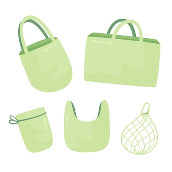 Colección de bolsas de tela de diseño plano