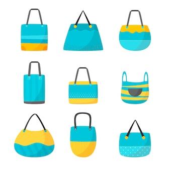 Colección de bolsas de tela planas