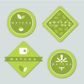 Colección de bolsitas de té matcha minimalista verde