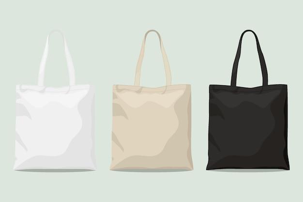 Colección de bolsos de tela de diseño plano