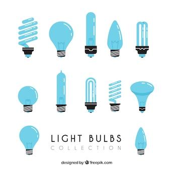 Colección de bombillas azules