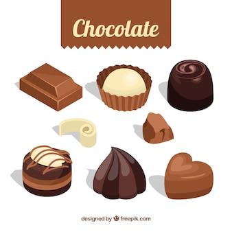 Colección de bombones de chocolate con formas diferentes