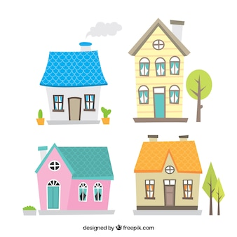 Colección bonita de casas dibujadas a mano