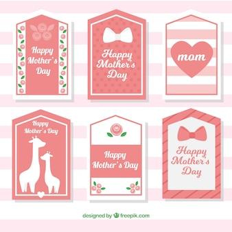 Colección de bonitas etiquetas del día de la madre