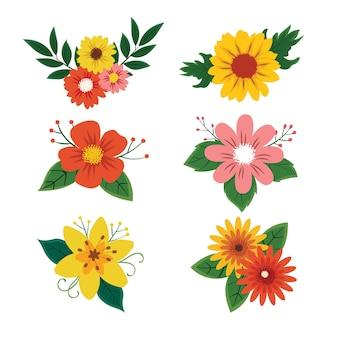 Colección de bonitas flores dibujadas a mano