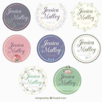 Colección de bonitas pegatinas redondas de boda