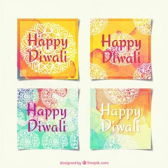 Colección de bonitas tarjetas ornamentales de acuarela de diwali