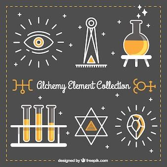 Colección de bonitos elementos alquímicos