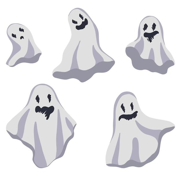 Colección de bonitos fantasmas. conjunto de ilustraciones vectoriales de dibujos animados dibujados a mano. cliparts planos coloreados aislados en blanco. elementos para el diseño de halloween.