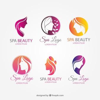 Colección de bonitos logos para spa