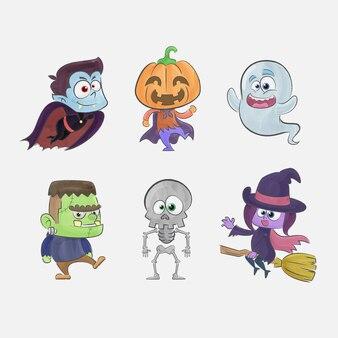 Colección de bonitos personajes de halloween en acuarela