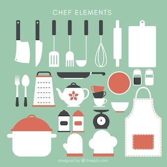 Colección de bonitos utensilios de cocina