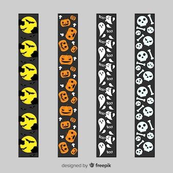 Colección de borde con elementos de halloween