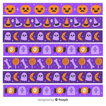 Colección de borde de halloween con calabazas y fantasmas