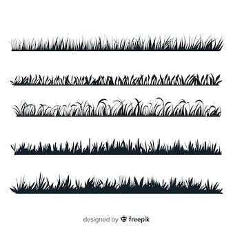 Colección de borde de hierba, siluetas aisladas