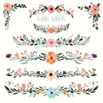 Colección de bordes decorativos florales