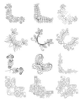Colección de bordes de esquina florales decorativos de dibujo