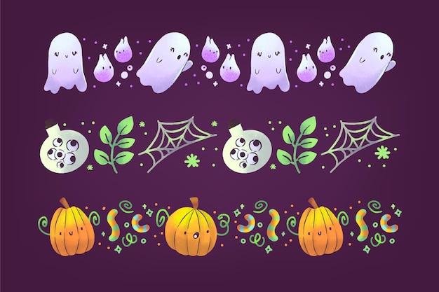 Colección de bordes de halloween en acuarela
