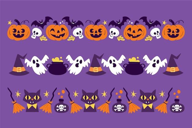 Colección de bordes de halloween dibujados a mano