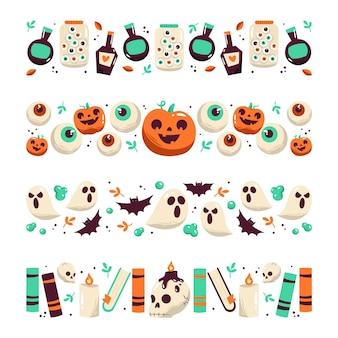 Colección de bordes de halloween de diseño dibujado a mano