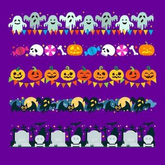 Colección de bordes de halloween de diseño plano
