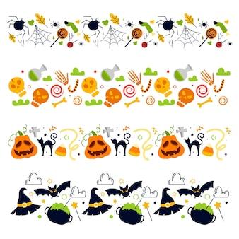 Colección de bordes planos de halloween dibujados a mano