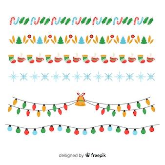 Colección bordes planos de navidad