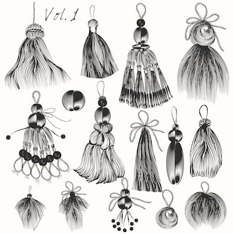 Colección de borlas dibujadas a mano