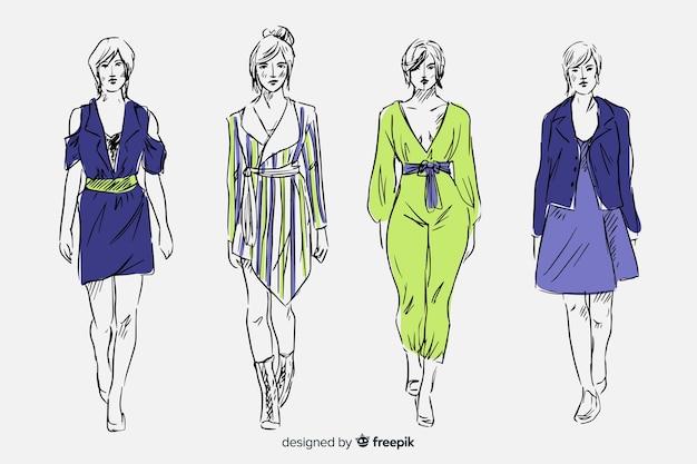 Colección de bosquejos de moda con modelos